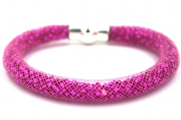 Starburst mesh bracelet kit - Hot pink 183 beads with pink mesh - Makes 5 bracelets MK001